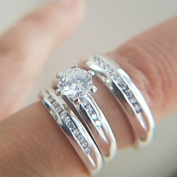 Wedding Bands For Women.3pc Set Engagement Ring Wedding Bands Men Women Boutique